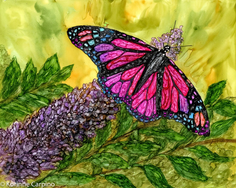 Alcohol ink Art Print  Butterfly Delight II image 0