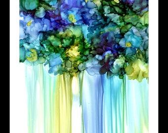Alcohol Ink Art, Art Print,  Blue Violets