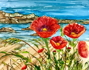 Alcohol Ink Art Print. Poppies by the Sea