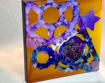 Alcohol Ink Composite - Bicycle Art.