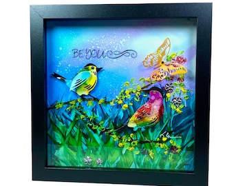 Whimsical and Inspirational Original Alcohol Ink Shadow Box