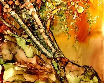 Alcohol Ink Art, Art Print,  Autumn Tree IV