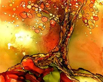 Alcohol Ink Art, Art Print,  Autumn Tree III