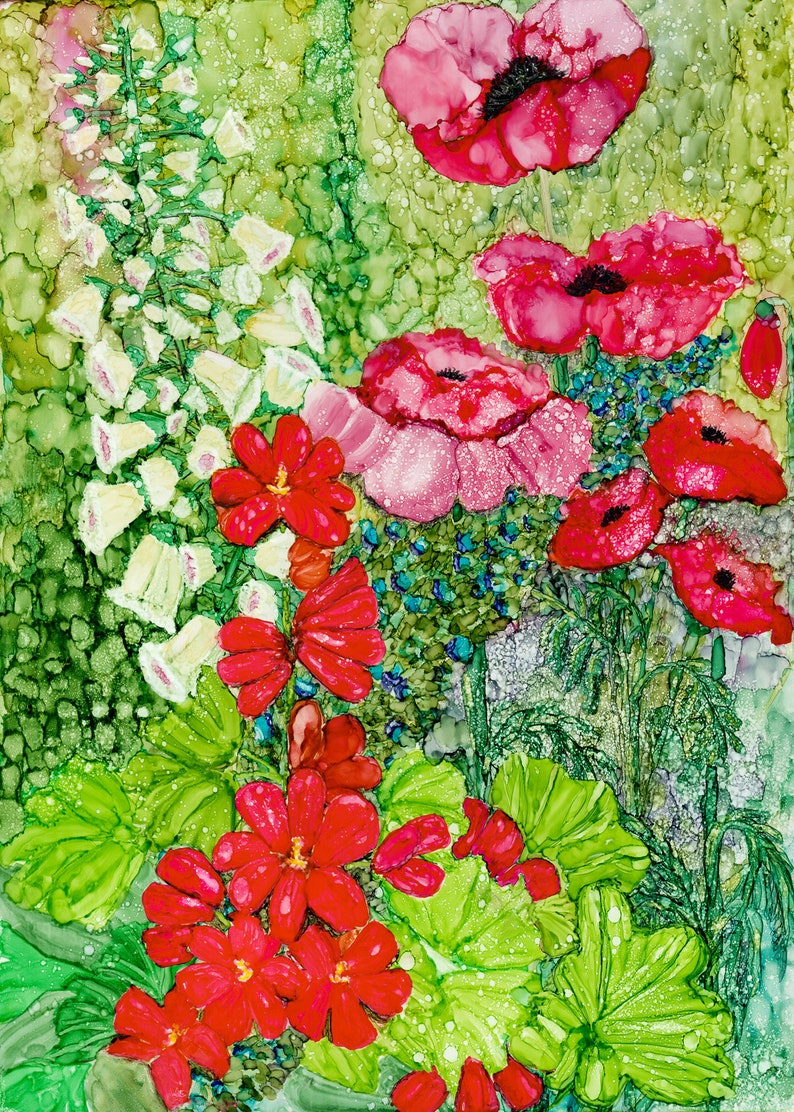 Alcohol ink Art Print.  Cottage Garden Poppies. image 0