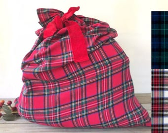 christmas gift bag 28x32 large plaid santa sack reusable fabric gift bag eco friendly bag sack race bag red check flannel gift bag