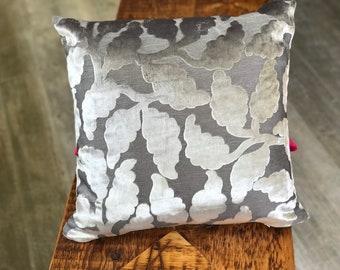 Gray Silver Floral Chenile Designer Pillow COVER