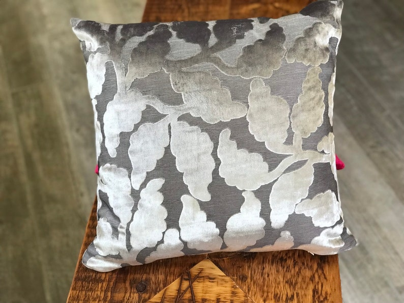 Gray Silver Floral Chenile Designer Pillow COVER image 0