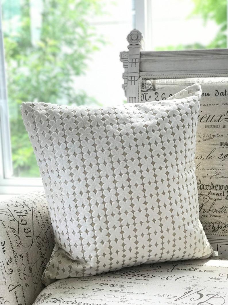 Ivory Clover pattern Ivory Designer Chenille pillow COVER image 0