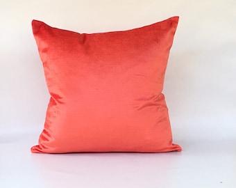 """Coral Velvet Designer Pillow COVER case 18""""x18"""""""