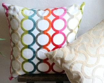 "DESIGNER Chenille  Pillow COVER, Circular pattern 18""x18"", 20""x20"", 22""x22"""