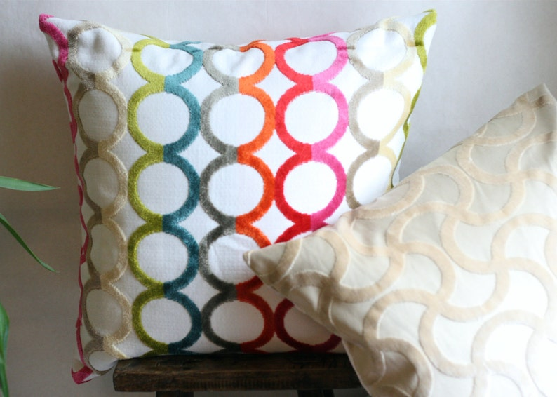 DesignerChenille  Pillow COVER Circular pattern image 0