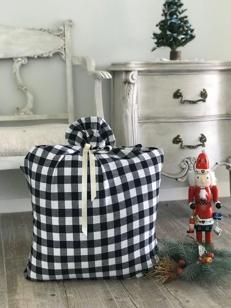 WHITE BLACK Santa Clause Buffalo Plaid Large Bag Christmas image 0