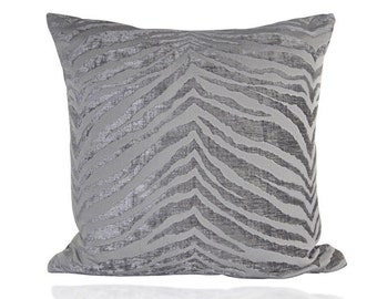 "Designer Pillow COVER, One Chenille pillow case, Decorative Silver PewterGray  Animal print  Deluxe pillow cover 18""x18"""