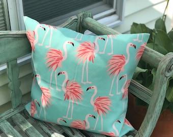 "Outdoor Pillow cover, 20""x20"" Navy corrals or Flamingo Cushion Cover 20""x20"""