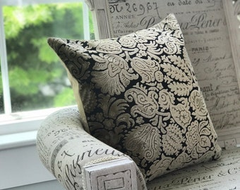 """Floral Chenille Black Taupe Decorative Deluxe pillow case 18""""x18"""""""