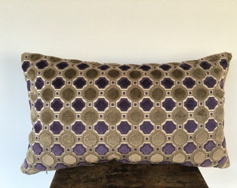 Designer Pillow COVER, Geometrical Chenille pillow cover, Modern Pillow cover, Decorative Purple Taupe Deluxe Circles pillow cover