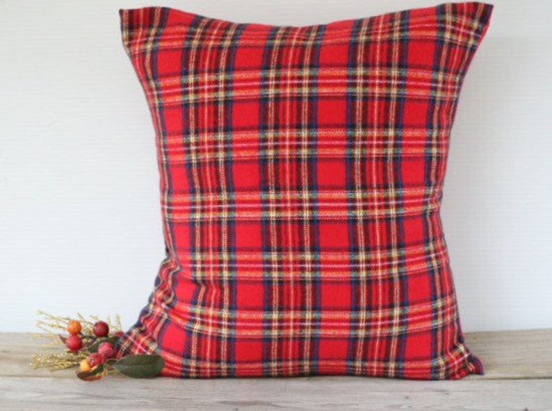 """Red Flannel Plaid Pillow Cover 22""""x22"""" Plaid #1"""