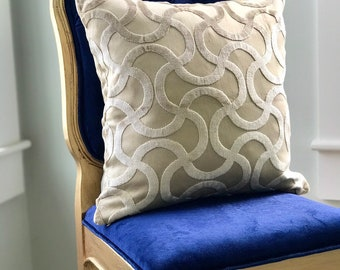 """Beige Designer Pillow Chenille One  pillow case 18""""x18"""" VitaLee pillows Collection"""
