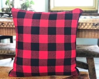 "Red plaid buffalo print Flannel Pillow Cover farmhouse in 2"" plaid check"