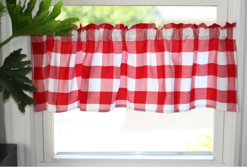 Red and White Farmhouse Buffalo Check  valances in Carolina image 0