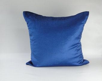 """Blue or Orange Velvet Pillow COVER Deluxe pillow case 18""""x18"""""""