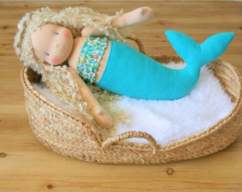 Mermaid doll with blonde curly hair and liberty top - waldorf doll - textile doll -