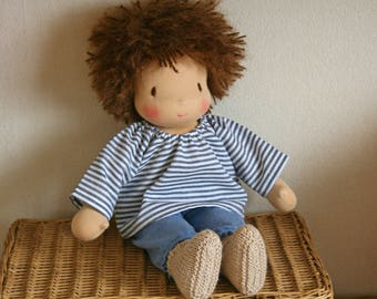 Waldorf boy doll with brown hair - Doll made to order - 14 inches / 35cm middle size.