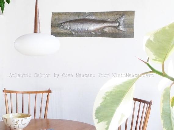 Brutalist Salmon, Fish Artwork, Metal Wall Sculpture, Animal art, Art at Home, Office, Kitchen, Bathroom, Nautical Decor, Cosé Manzano