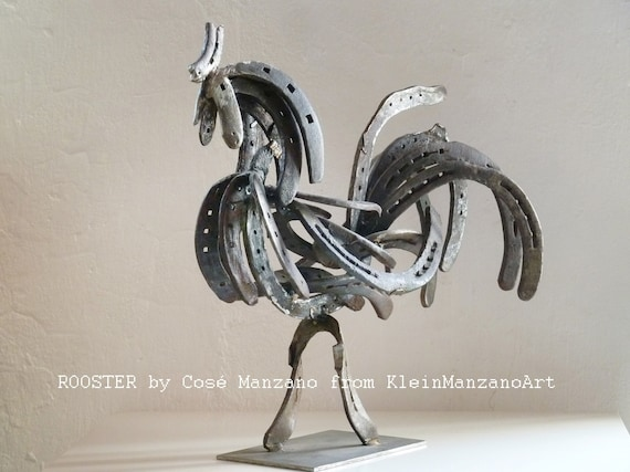 Metal sculpture, Rooster, Contemporary art, Original sculpture, Home decor, Country decor, Farm animal, Animal art, Recycled materials.