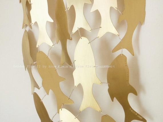 Golden Fish, Fish Artwork, Metal Wall sculpture, Shoal, Golden Flow, Wedding, Zen Feng shui, Contemporary art, Bathroom Decor, Anne Klein H.