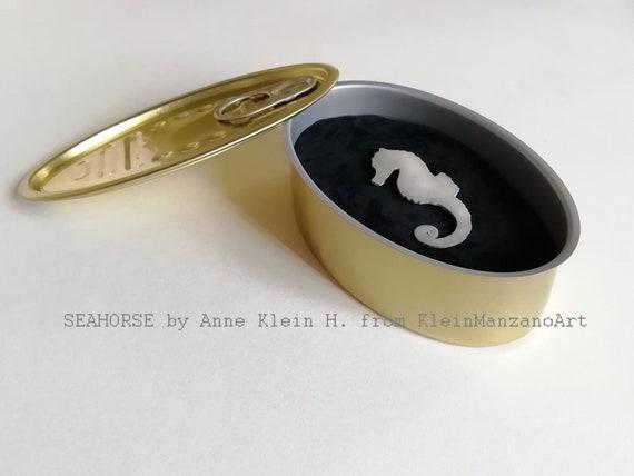 Surprise tin, SEAHORSE BROOCH, Own design, Hippocampus, Jewelry, Handmade Aluminum, Animal, Copper, Brass, Gift women & girls, Anne Klein H.