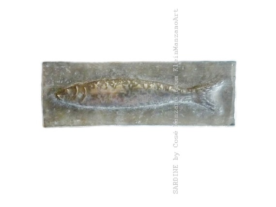 Metal art, Sardine relief, Nautical Sculpture, Fish, Wall sculpture, Fish tile, Aluminum, Bathroom, Home decor, Cosé Manzano