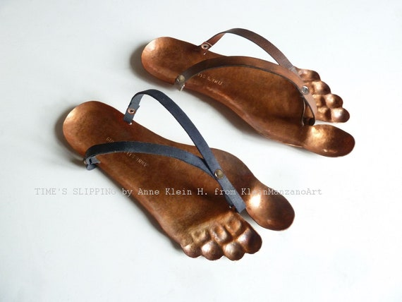 Metal Wall sculpture, Footprint, Shoe, Time, Sandal, Ancient Greek, Historic art, Handmade, Chased metal, Copper, Leather, Anne Klein H.