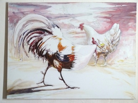 Acrylic painting, Original, Courting Cock and Hen, Realistic painting, Rooster, Court yard art, Farm art, Rustic art, OOAK, by Cosé Manzano