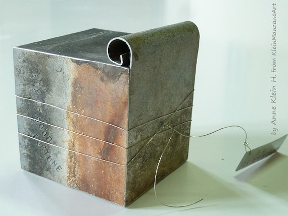Metal sculpture, Cube, Box of Good Fortune, Metal art, Wedding Gift, Mens gift, Metal art sculpture, Zinc, Home decor, Original,Anne Klein H