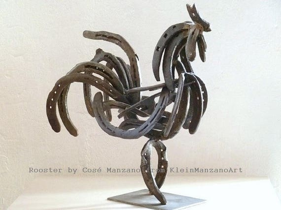 Metal sculpture, Rooster, Contemporary art, Original sculpture, Home decor, Country decor, Farm animal, Animal art, Recycled materials.