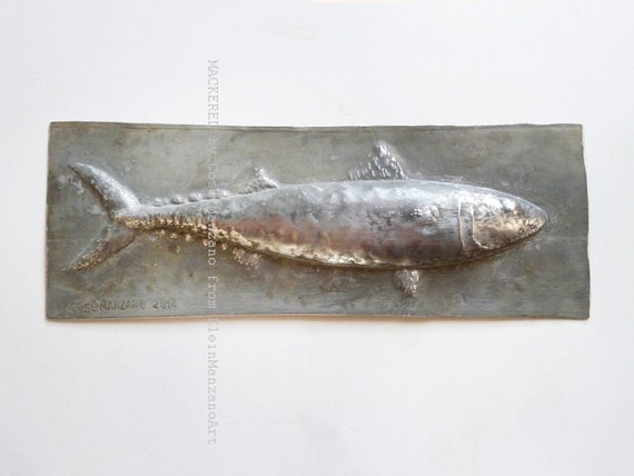 Metal sculpture, Wall, Mackerel, Aluminum relief, Fish, Tile, Animal sculpture, Metal wall sculpture, Metal art, Bathroom art, Home decor