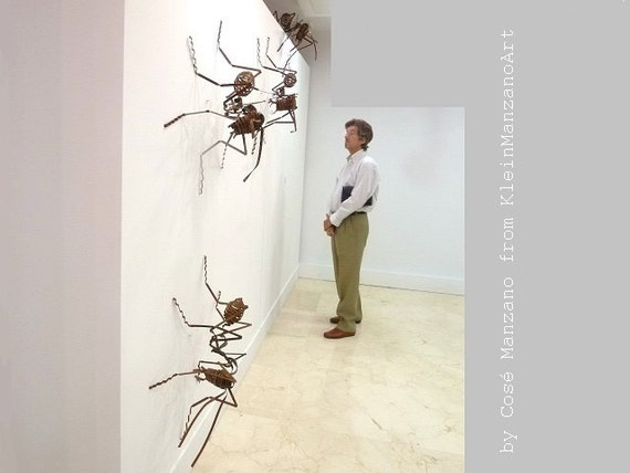 Ant sculpture installation, Metal art, 4 Ants, Contemporary art, Wall Sculpture, Insect, Anthill,Ceiling, Home decor, Original, Cosé Manzano