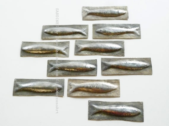 Metal art, Set, 10 Sardines, Nautical Sculpture, Fish, Wall sculpture, Fish tiles, Aluminum, Backsplash, Bathroom, Home decor, Cosé Manzano