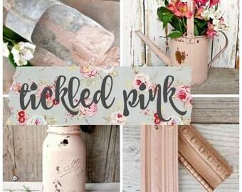 Sweet Pickins Milk Paint   Color - TICKLED PINK   Farmhouse Cottage   Chippy   Rustic   Primitive   Furniture Paint   Home Decor   Soft Rose