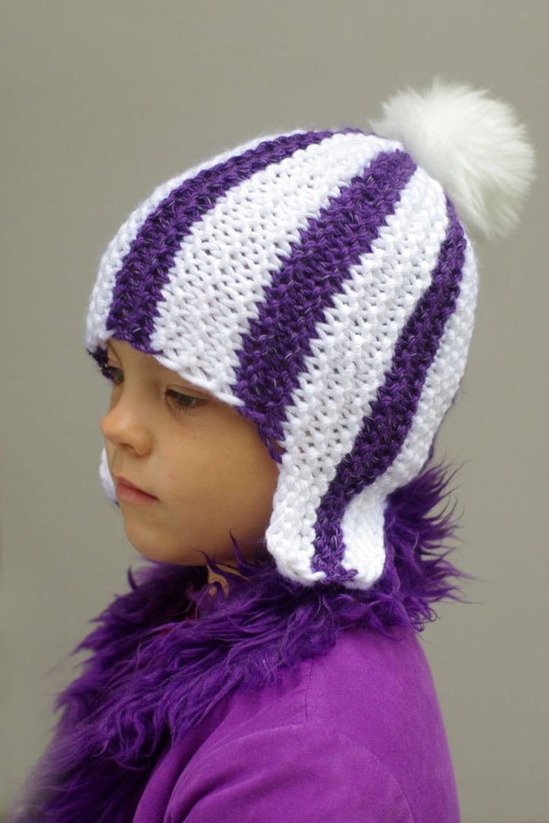 03b27448405f9 Kids ear flap hat, kids aviator cap, kids reflective striped pompom hat,  trapper hunter hat, knit hat, winter hat, knitted reflector hat