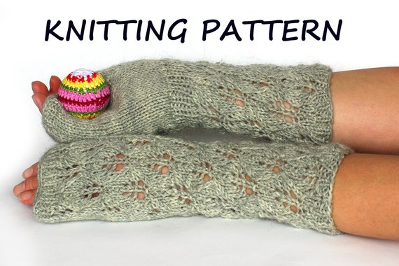 Lace Fingerless Gloves Knitting Pattern Arm Warmers Knitting Etsy