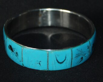 Blue inlaid bracelet - vintage blue bangle silver colored cuff bracelet - boho bohemian jewellery - vintage hippie jewelry - gift for her