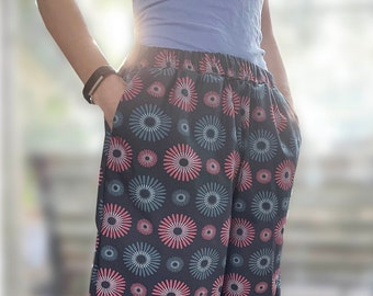 wide, mid-calf length organic cotton pants with pockets and elastic waistband