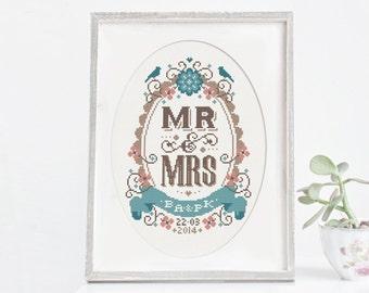 Mr & Mrs - Customisable Wedding Cross Stitch Pattern (Digital Format - PDF)