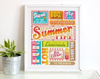 Summer Time - Cross Stitch Pattern (Digital Format - PDF)