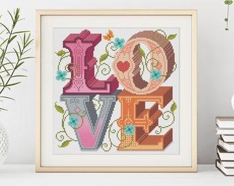 LOVE - Cross Stitch Pattern (Digital Format - PDF)