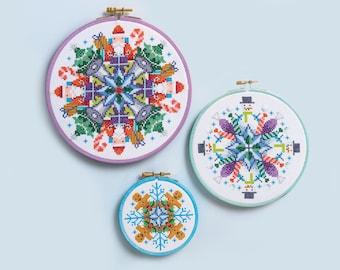 Christmas Mandalas - Cross Stitch Patterns (Digital Format - PDF)