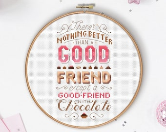 A Good friend with Chocolate - Cross Stitch Pattern (Digital Format - PDF)