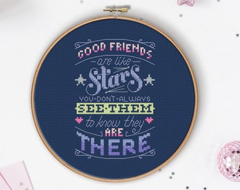 Good Friends are like Stars - Cross Stitch Pattern (Digital Format - PDF)